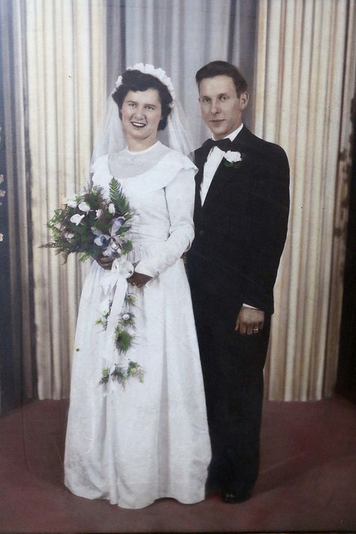 . Harvey Price and his Agnes Price on their wedding day September 24, 1950. Harvey talked about his wife, who just passed away, at his home in Lunenburg on Friday morning. SENTINEL & ENTERPRISE/JOHN LOVE