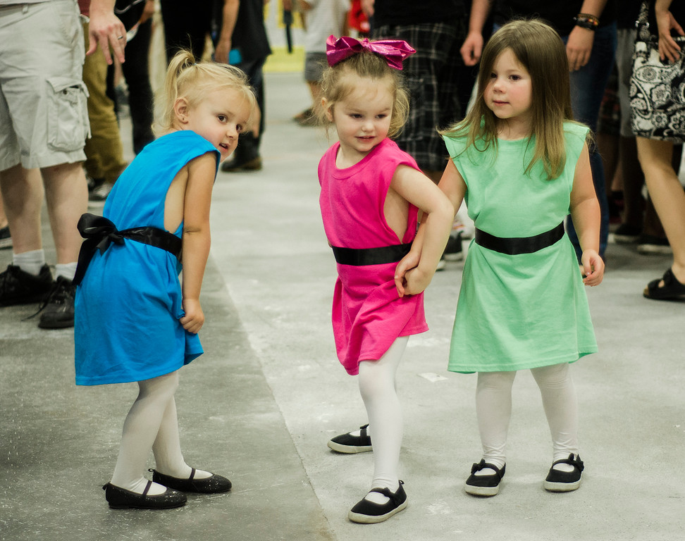 . Abby Kearchner, 3, Fiona Sponenberg, 3, and Lily Grennel, 3, dress as the Power Puff Girls during the Plastic City Comic Con held at the Wallace Civic Center in Fitchburg on Saturday, July 29, 2017. SENTINEL & ENTERPRISE / Ashley Green