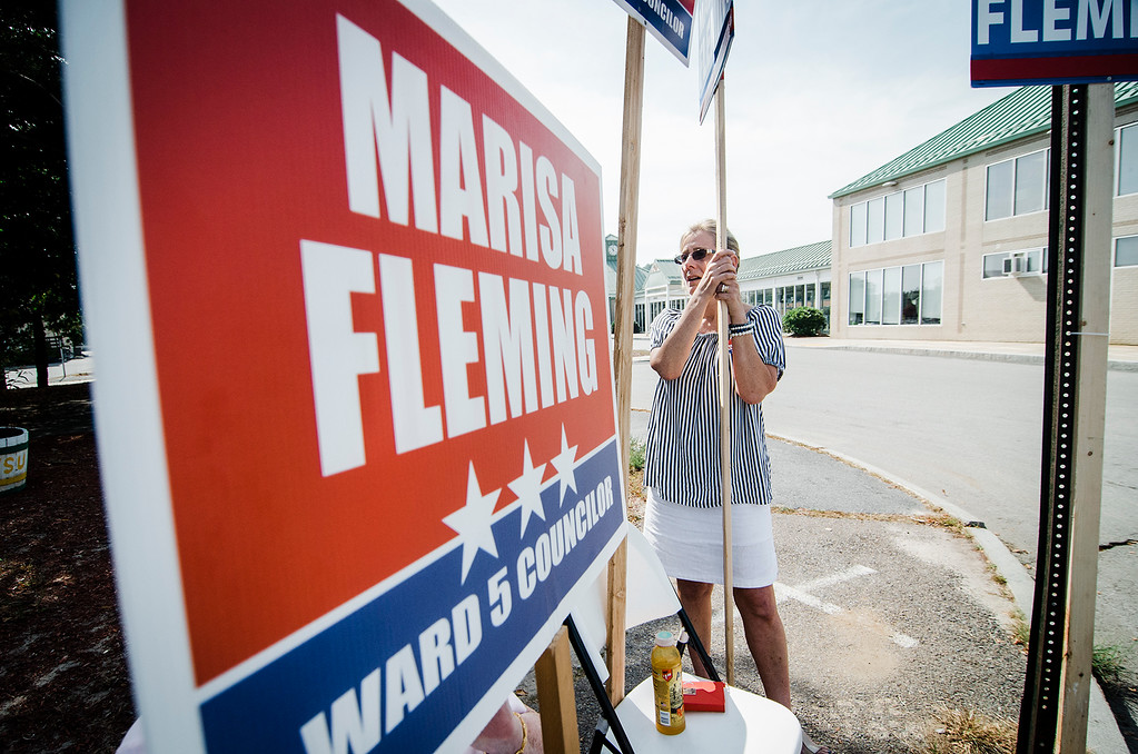 . Ward 5 City Council candidate Marisa Fleming campaigns at the MART Intermodel station in Fitchburg on Tuesday, September 26, 2017. SENTINEL & ENTERPRISE / Ashley Green