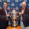 Attendees pose with the PGA Championship Wanamaker Trophy.