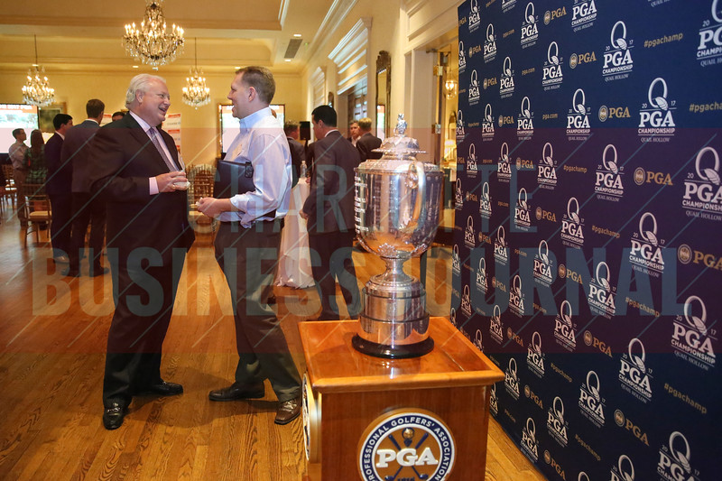 The PGA Chamionship Wanamaker Trophy is seen on display at the event on Wednesday.