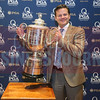Kevin Pitts, CBJ publisher, poses with the PGA Championship Wanamaker Trophy.