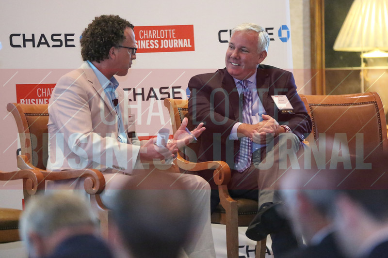 Jeff Price, chief commercial officer of PGA of America, talks during a fireside chat with Abe Madkour, Sports Business Journal executive editor, at CBJ's PGA Championship Event on Wednesday.