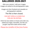 POLICY ON FINAL GALLERIES
