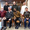 Fr. Ed  (provincial superior) and Fr. Carlos Luis (general) with members of the novitiate community