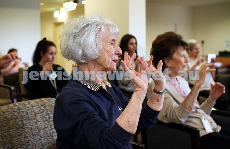 In Focus. 11-7-14. A Week in the Life. Sally Felzen, volunteer at Emmy Monash, Aged Care. Dyan Ostrow yoga class. Photo: Peter Haskin