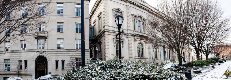 Peabody conservatory frontage with snow