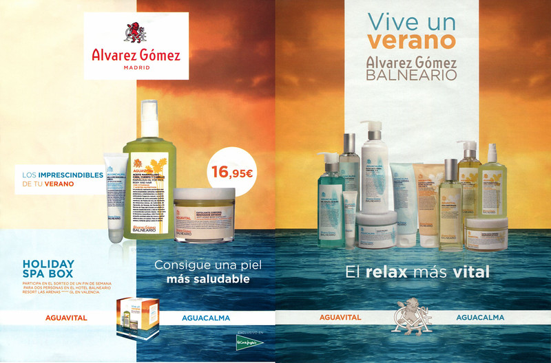ÁLVAREZ GÓMEZ Balneario (Aguavital - Aguacalma) 2016 Spain spread 'Vive un verano - El relax más vital'
