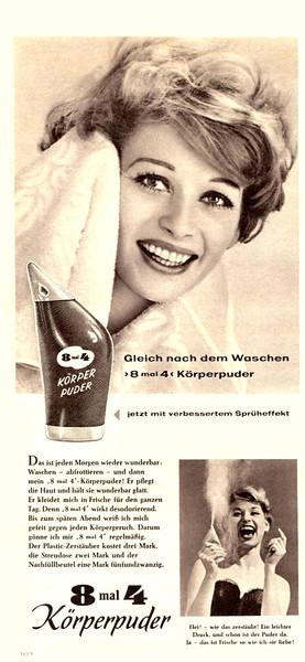 8 x 4 Talc 1959 Germany 'Gleich nach dem Waschen '8 mal 4 Körperpuder''