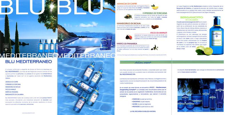 ACQUA DI PARMA Blu Mediterraneo 2011 Spain 8-fave cardboard recto-verso foldout 15 x 15 cm  (60 x 15 cm when unfolded)