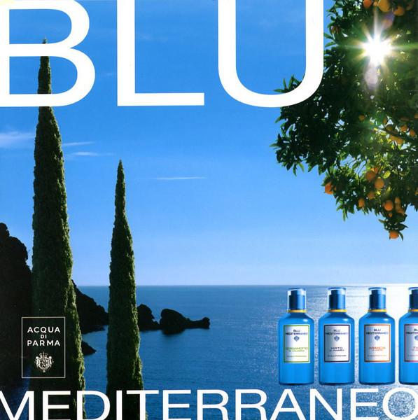 ACQUA DI PARMA Blu Mediterraneo (Bergamotto di Calabria - Mirto di Panarea - Arancia di Capri - Fico di Amalfi) 2011 Spain (format 20 x 20 cm)