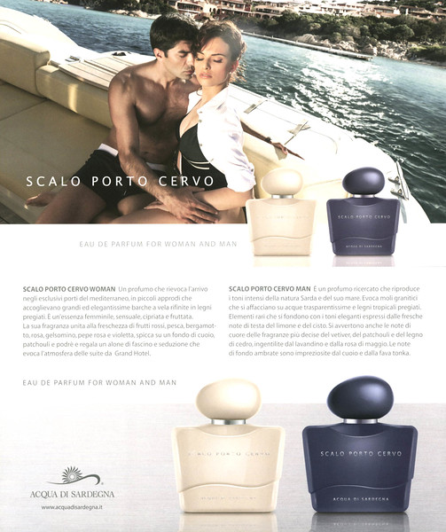 ACQUA DI SARDEGNA Scala Porto Cervo Eau de Parfum for Woman and Man 2014 Italy (recto-verso semi-glossy card 21 x 12,5 cm)