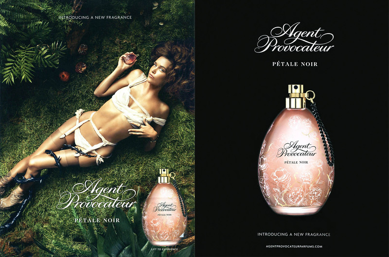 AGENT PROVOCATEUR Pétale Noir 2013 UK recto-verso with scented patch 'Introducing a new fragrance'