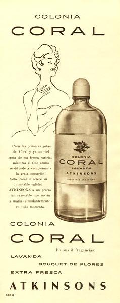 ATKINSONS Coral 1961 Argentina half page bis 'Colonia Coral - En sus tres fragancias: Lavanda - Bouquet de Flores - Extra Fresca'