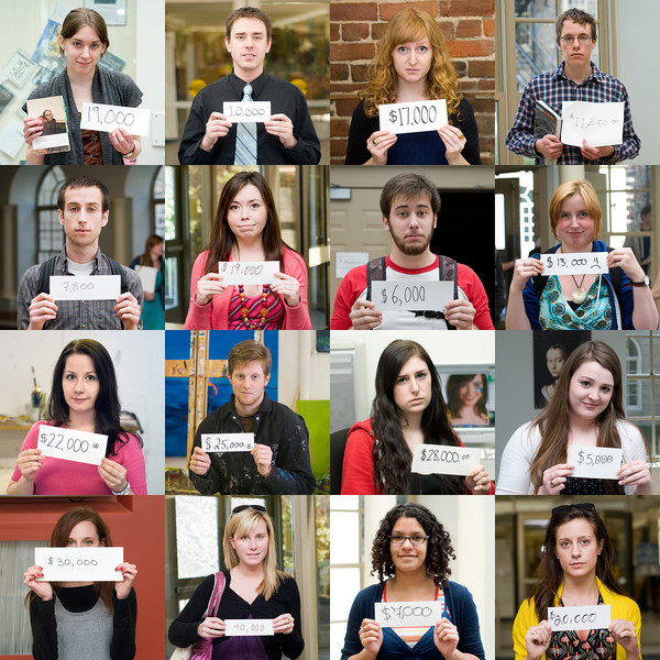 "Millions in Debt is a project about the cost to get educated, the debt it leaves people with, and the impact it has on the people subjected to it. In April 2010, 100 students from five post-secondary institutions were asked to have their photo taken with the amount of debt they owed, the grand total of which exceeded two million dollars.<br /> <br /> For more information, or if you were a participant in this project, please visit:<br /> <br /> <a href=""http://www.fotophoto.tumblr.com/post/1424373448/millions-in-debt-just-above-2-million-to-be-exact"">http://www.fotophoto.tumblr.com/post/1424373448/millions-in-debt-just-above-2-million-to-be-exact</a>"