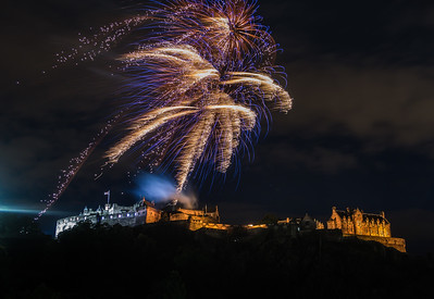 Edinburgh Tattoo - Fireworks - Edinburgh Castle - From Princess Street (August 2019)
