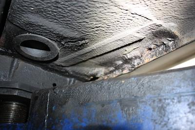 Left rear sill seam rusting