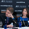 Cancer survivors former congressman Rep. M. Robert Carr, left, and Monica Barlow, listen closely as Frank McCormick, AACR President, speaks during the launch of the American Association for Cancer Research (AACR) progress report 2012 held at the National Press Club in Washington, DC on Sept. 12, 2012. (Photo by Alan Lessig for AACR)