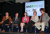 Panelists discuss the state of cancer research (left to right): <br /> Geoffrey M. Wahl, PhD, Professor at the Salk Institute for Biological Studies; <br /> Scott Lippman, MD, Director of the UC San Diego Moores Cancer Center;  <br /> Bianca Lundien Kennedy, a two-time survivor of breast cancer; <br /> Kristiina Vuori, MD, PhD, President of the Sanford-Burnham Medical Research Institute; <br /> Tom Fudge (moderator), News Editor at KPBS San Diego.<br /> © All rights reserved by KPBS Outreach.