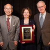 Chicago, IL - The AACR Annual Meeting 2012:  Philip Hanawalt (right) and Susumu Nishimura present the Princess Takamatsu Memorial Award and Lectureship to Mary Hendrix during the American Association for Cancer Research Annual Meeting here today, Friday, March 30, 2012. More than 18,000 physicians, researchers, health care professionals, cancer survivors and patient advocates are expected to attend the meeting at McCormick Place. The Annual Meeting highlights the latest findings in all major areas of cancer research from basic through clinical and epidemiological studies. Date: Friday, March 30, 2012 Photo by © AACR/Scott Morgan 2012 Technical Questions: todd@toddbuchanan.com; Phone: 612-226-5154.