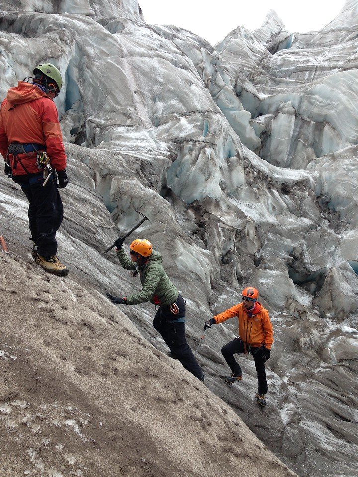 Steep ice climbing practice on the Glacier Hermonsa on Cayambe.