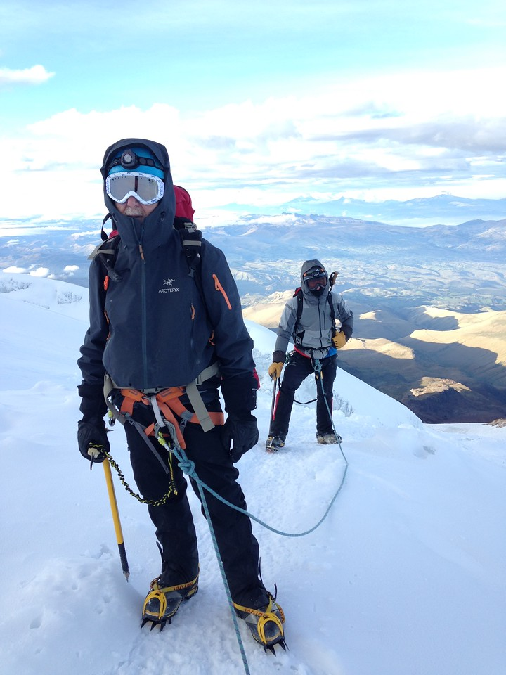 Nearing the summit of Cayambe looking south on the Glacier Hermosa.