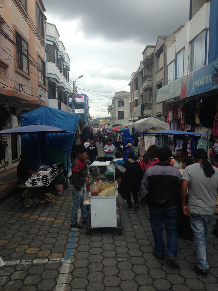 View down one of the many crowded streets at the Saturday Otovalo Market.