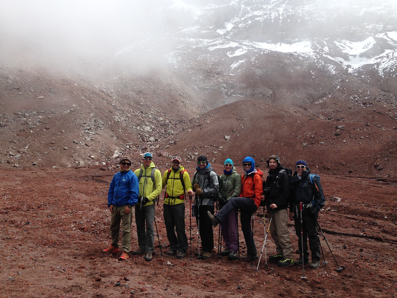 The team during an acclimatization hike on Chimborazo.
