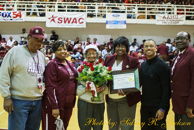 AAMU 2016 MBBall vs ASU Home Sarah Bell Recognition