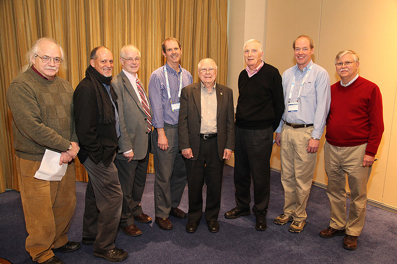 "The Historical Astronomy Division's second session was entitled ""From Barnard's Star to the Kepler Mission: Searching for Low Mass Companions to Stars."" Speakers and organizers included David DeVorkin (Smithsonian Institution), Geoffrey Marcy (University of California, Berkeley), David Latham (Harvard-Smithsonian Center for Astrophysics), Timothy Brown (Las Cumbres Observatory Global Telescope Network), William J. Borucki (NASA Ames Research Center), Gordon Walker (University of Victoria), Edward (Ted) Dunham (Lowell Observatory), and Steven Dick (Library of Congress). AAS photo © 2014 Joson Images."