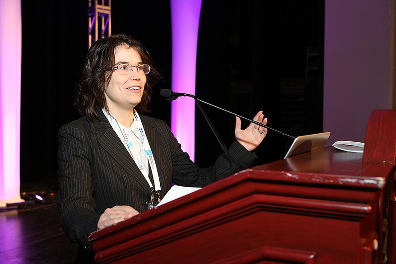 "Sarah Dodson-Robinson (University of Texas, Austin) received the Annie Jump Cannon Award for her contributions to the study of the formation of planetary systems. Her Cannon Award Lecture was entitled ""Giant Planets in Dusty Disks."" AAS photo © 2014 Joson Images."