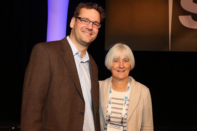 "Armin Rest (Space Telescope Science Institute) gave his invited talk, ""An Astronomical Time Machine: Light Echoes from Historic Supernovae and Stellar Eruptions,"" on Thursday morning. He was introduced by AAS Vice President Paula Szkody (University of Washington). AAS photo © 2014 Joson Images."