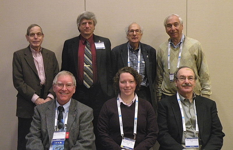 Historical Astronomy Division (HAD) VI speakers ― Front: G. Fritz Benedict (University of Texas, Austin), Sierra Smith (National Radio Astronomy Observatory), and Marc Rothenberg (National Science Foundation). Rear: Martin Harwit (Cornell University), Bradley Schaefer (Louisiana State University), Kenneth I. Kellermann (NRAO), and session chair Jay M. Pasachoff (Williams College). Photo by Joe Tenn.