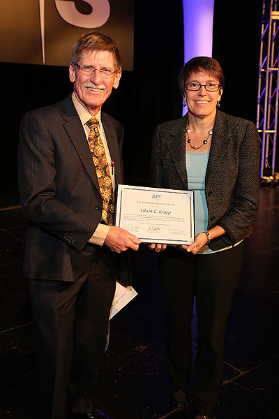 "The American Institute of Physics (AIP) Andrew Gemant Award recognizes significant contributions to the cultural, artistic, or humanistic dimension of physics. AIP Vice President Catherine O'Riordan presented the award to Edwin C. Krupp (Griffith Observatory), who has brought the heavens to life through public outreach and education, planetarium shows, award-winning books and articles, television programs, exhibits, lectures, and public events. Krupp's archaeoastronomy research has explored the links between astronomy and ancient cultures, and that's what he spoke about in his prize lecture, ""Star Trek: The Search for the First Alleged Crab Supernova Rock Art."" AAS photo © 2014 Joson Images."