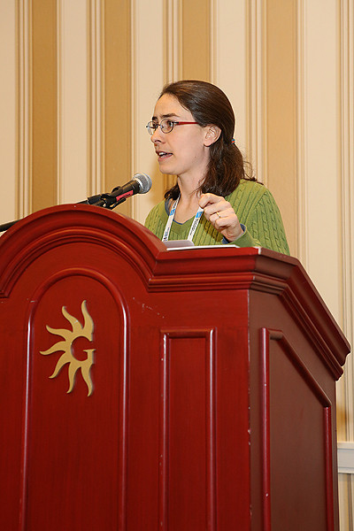 Meredith Hughes (Wesleyan University) of the AAS Committee on the Status of Women in Astronomy (CSWA) reviewed results from the committee's latest demographic survey of major astronomy departments and divisions. The survey has been tracking the representation of women across the field since 1992. AAS photo © 2014 Joson Images.