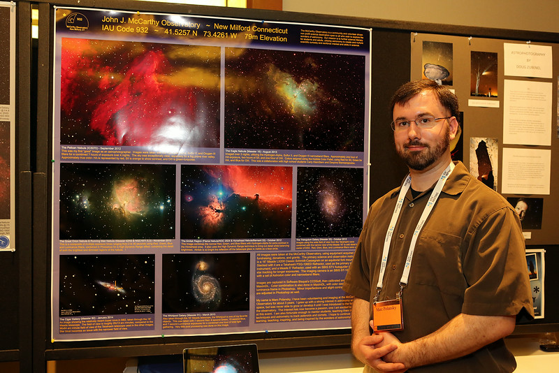 A special poster display in the AAS Exhibit Hall provided a venue for local amateur astrophotographers — including Marc	Polansky — to show off some of their best work and to talk about it with hundreds of interested scientists, students, and fellow amateurs. AAS photo © 2014 Joson Images.