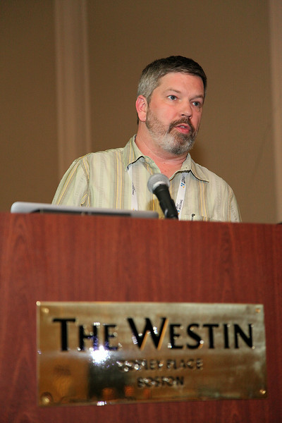 The AAS Solar Physics Division (SPD) held its annual business meeting on Tuesday evening, during which Gordon Emslie (Western Kentucky University) and other SPD members discussed issues of importance to the Division. AAS photo © 2014 Joson Images.