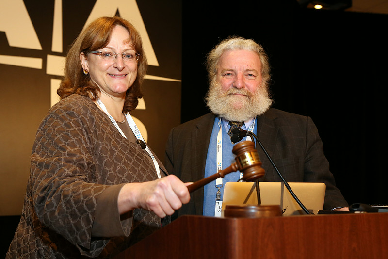 In Boston one of the highlights of the Annual Members Meeting (other than the free beer and pretzels) was the handover of the presidential gavel from David Helfand (Quest University Canada) to Meg Urry (Yale University). AAS photo © 2014 Joson Images.