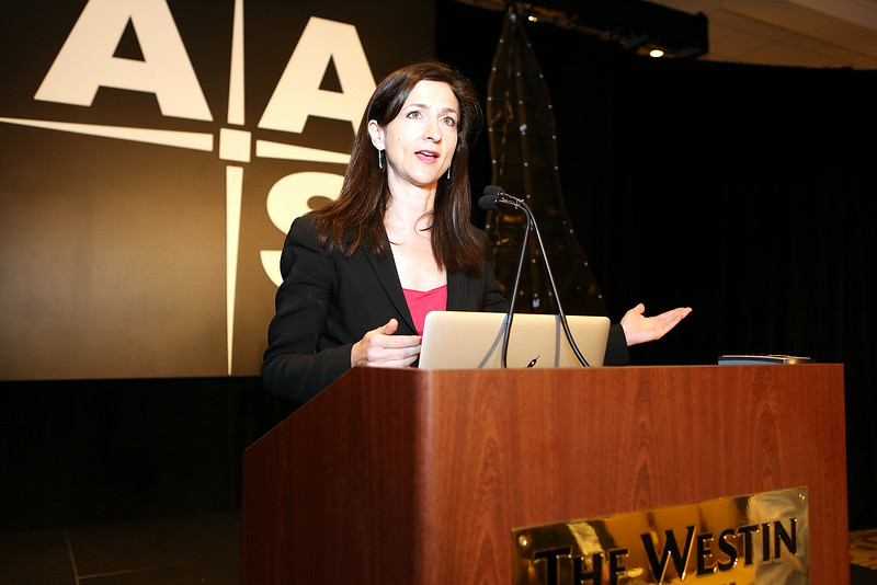 "The first plenary speaker on Tuesday morning was Sara Seager (MIT), whose presentation was entitled ""Mapping the Nearest Stars for Exotic Habitable Worlds."" AAS photo © 2014 Joson Images."