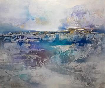 "Blue Horizon-Brems, 50""x60"" acrylic painting on loose canvas"