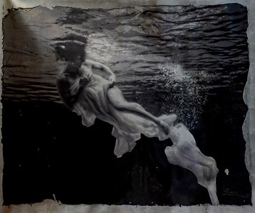 """""""Aqueous B&W"""", Pezhman apx 48""""x60"""" mixed media photography with paint on loose canvas"""