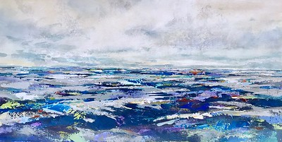 """Passages - Brems, 30""""x60"""" painting on loose canvas"""