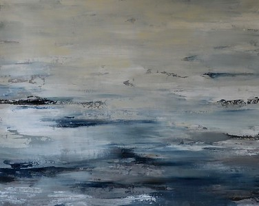 "On the Stormy Seas-Jardine, 40""X50"" acrylic painting on canvas"
