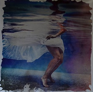 """""""Aqueous Blue"""", Pezhman apx 60""""x60"""" mixed media photography with paint on loose canvas"""