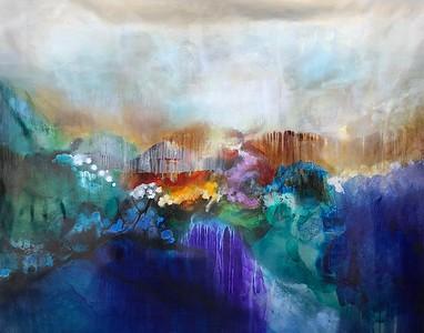 "Arroyo Rainstorm-Raboin, 48""h x 58 75""w painting on canvas"