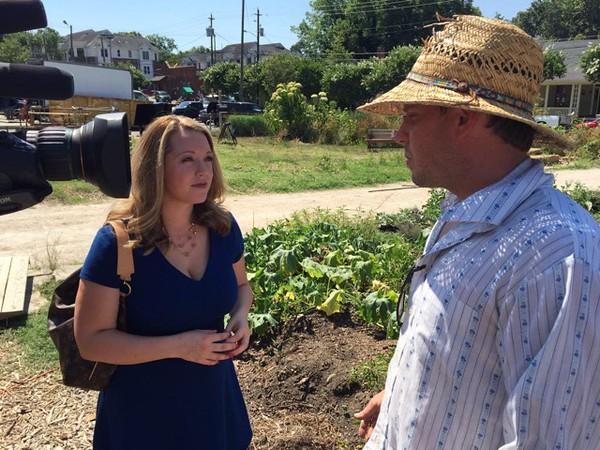 ABC 11 Meteoroloigst Liz Horten and Raleigh city farm CEO Chris Rumbley