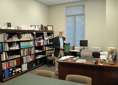 Bruno Library Director Lee Pike in his office