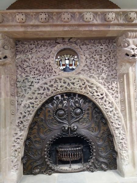 Intricately Carved Fireplace, Barcelona, Spain