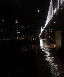 Bay Bridge and Moon at Night