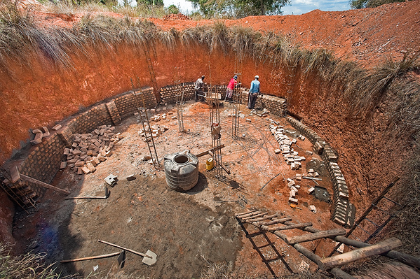 The workings of our new hand dug cistern.  A water project to fight against the common droughts.
